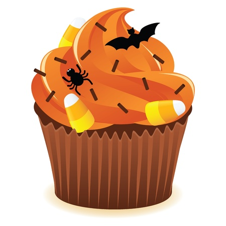 Hallowen Spooky Cupcake with orange icing. EPS 8 CMYK with global colors vector illustration.  イラスト・ベクター素材