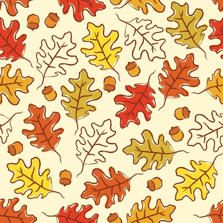 Oak leaves and acorn seamless pattern.  CMYK with global colors file.   イラスト・ベクター素材