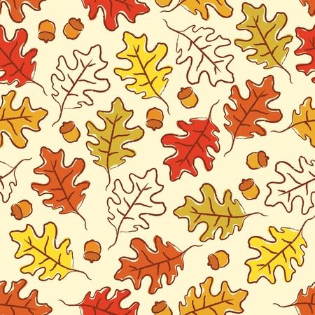 Oak leaves and acorn seamless pattern.  CMYK with global colors file.  Illusztráció
