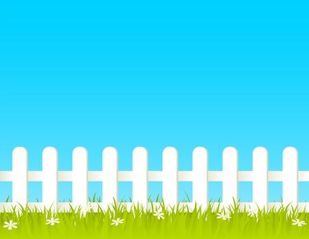 cerca blanca: Valla blanco con hierbas y flores. EPS 8 RGB con ilustraci�n vectorial de colores globales.