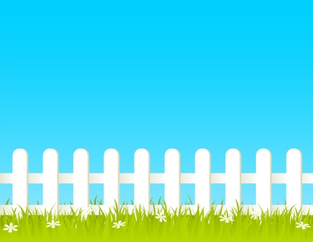 white fence: White fence with grass and flowers. EPS 8 RGB with global colors vector illustration.
