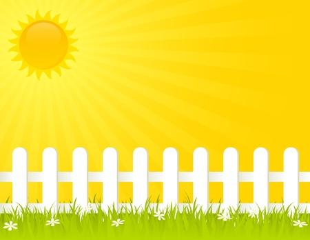 cerca blanca: Valla blanca en un d�a soleado de verano. EPS 8 RGB con la ilustraci�n mundial vector colores. Vectores