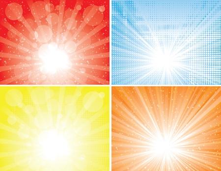 starbursts: Cuatro fondos diferentes rayo de sol. EPS 8 colores CMYK mundial ilustraci�n vectorial.
