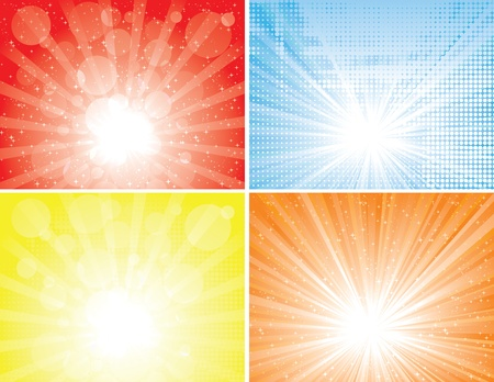 Four diffrent sunbeam backgrounds. EPS 8 CMYK global colors vector illustration. Vector