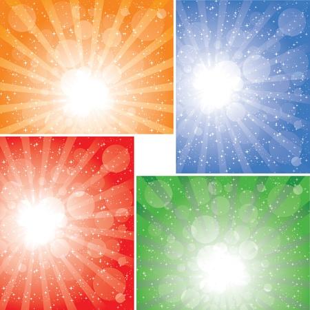 Four diffrent sunbeam backgrounds. EPS 8 CMYK global colors vector illustration.