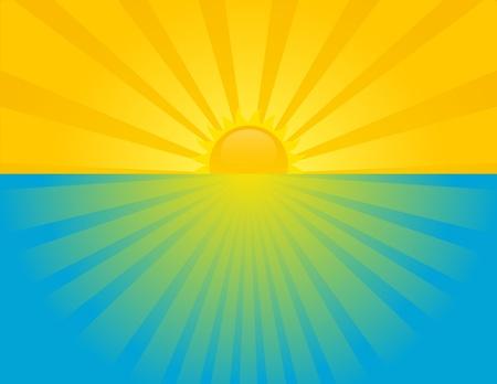 Puesta de sol en el mar en un día soleado de verano. EPS 8 RGB con la ilustración mundial vector colores. Ilustración de vector