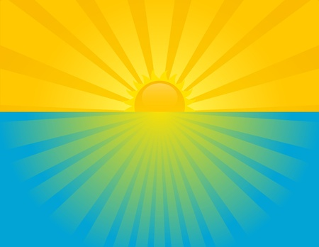 Zonsondergang op zee op een zomerse zonnige dag. EPS 8 RGB met de wereldwijde kleuren vector illustratie. Vector Illustratie