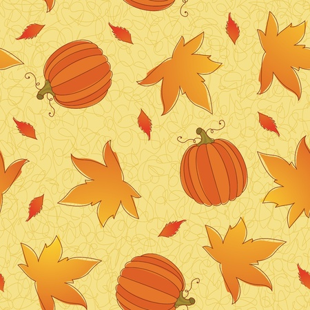 Thanksgiving seamless pattern of pumpkins and leaves. Eps 8, CMYK with global colors illustration. Vector