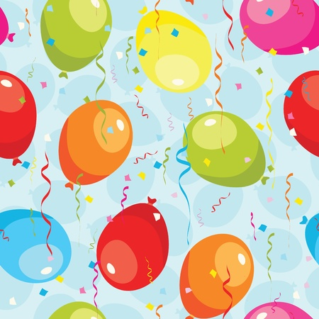 Balloons and confetti seamless pattern. EPS 8 CMYK with global colors vector illustration.  Vector