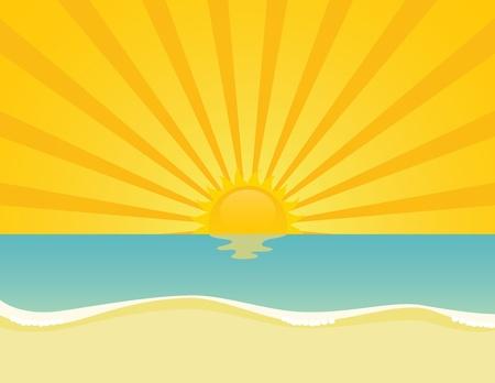 Ondulado mar atardecer o amanecer. EPS 8 CMYK con ilustración vectorial de colores globales.
