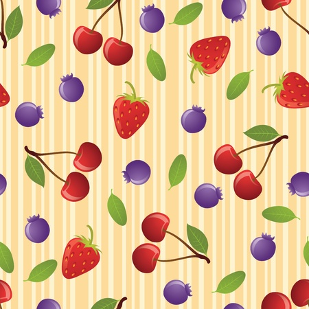 Cherry seamless pattern on striped background. EPS 8 CMYK with global colors vector illustration. Stock Vector - 10414364