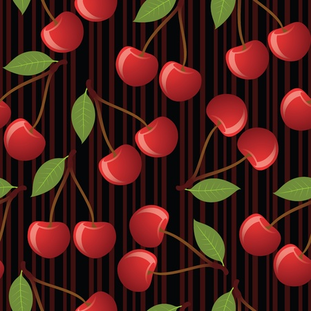 Cherry seamless pattern on striped background. EPS 8 CMYK with global colors vector illustration. Stock Vector - 10414363
