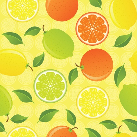 Citrus seamless pattern with limes, lemons and oranges. EPS 8 CMYK with global colors vector illustration. Vector