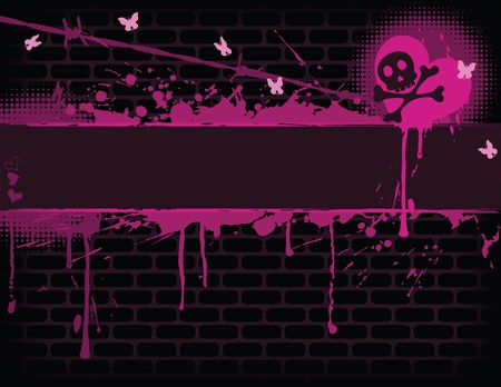 emo: Emo brick wall with Banner. EPS 8 CMYK with global colors vector illustration.  Illustration