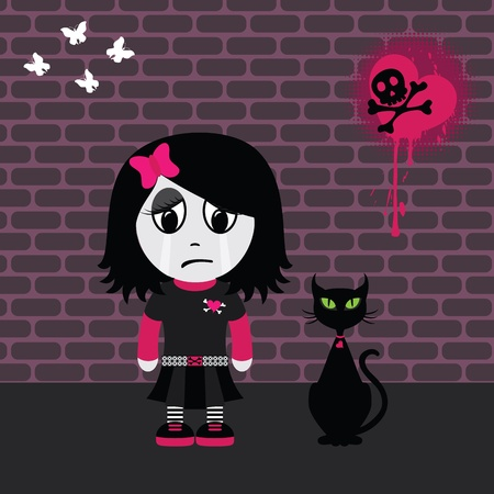 Sad emo girl and her cat. EPS 8 CMYK with global colors vector illustration.  Vector