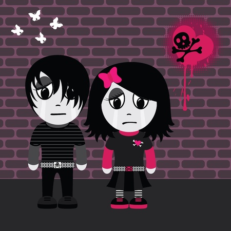 Sad emo girl and boy. EPS 8 CMYK with global colors vector illustration.  Vector
