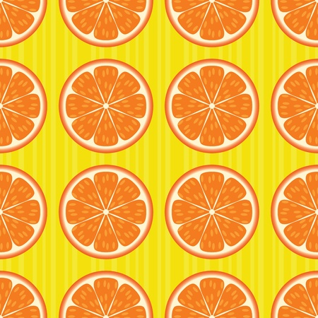 Sliced oranges on stripes seamless pattern. EPS 8 CMYK with global colors vector illustration. Vector