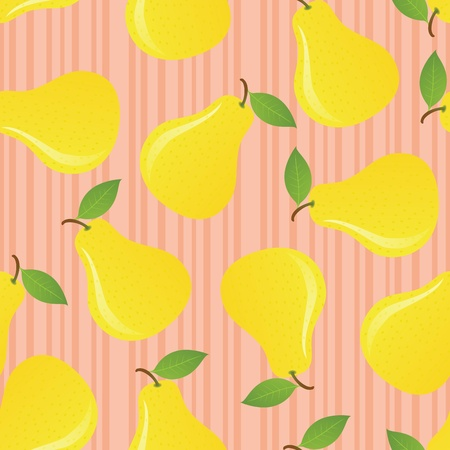 Pears seamless pattern on striped background. EPS 8 CMYK with global colors vector illustration. Stock Vector - 10414413