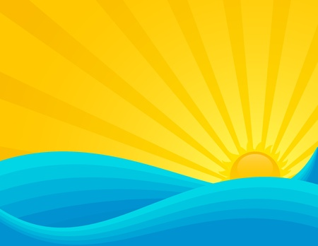 Wavy sea sunset or sunrise. EPS 8 RGB with global colors vector illustration.  Vector