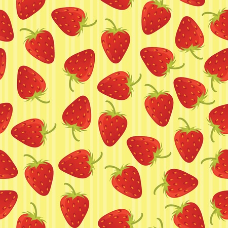 Strawberry seamless pattern with stripes. EPS 8 CMYK with global colors vector illustration. Illustration