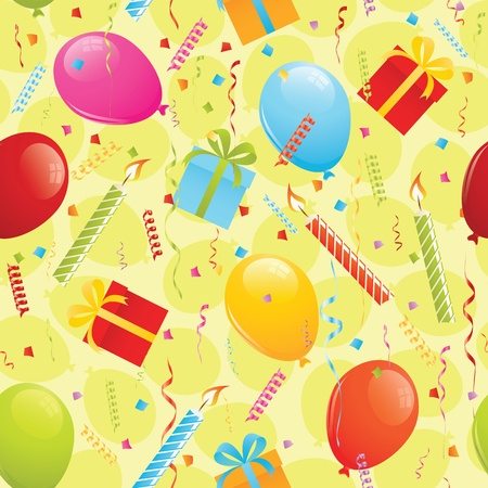 Birthday seamless pattern with presents, balloons and confetti. EPS 8 CMYK with global colors vector illustration Stock Vector - 10442252