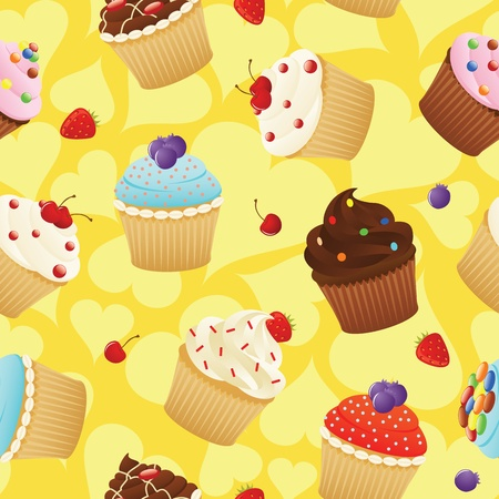 Seamless pattern made of cupcakes. Eps 8, CMYK with global colors vector illustration. Vector