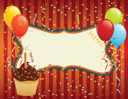 Verjaardagskaart met cupcake, ballonnen en confetti. CMYK EPS 8 met de wereldwijde kleuren vector illustratie.