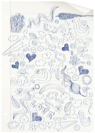 Curled notebook page with doodles. CMYK with global colors file.