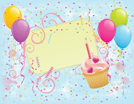 Birthday banner with cupcake, balloons and confetti. EPS 8 CMYK with global colors vector illustration.