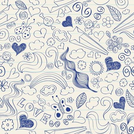 lined paper background: Seamless pattern of doodles on a notebook. Eps 8, CMYK global color vector illustration. Illustration