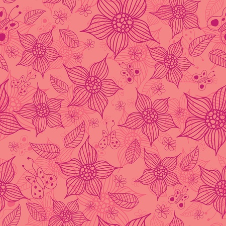 Spring seamless pattern made of flowers and butterflies. Vector