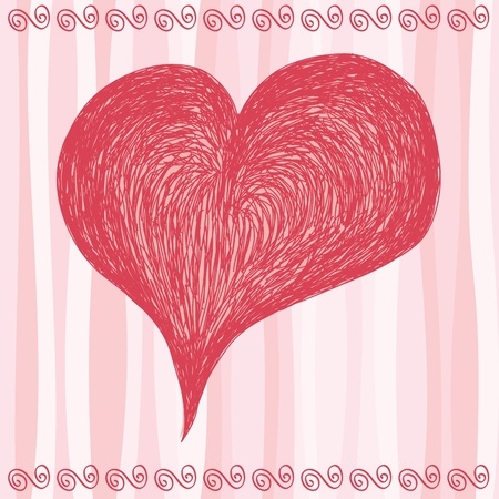 Hand drawn pink big heart. Stock Vector - 10442262