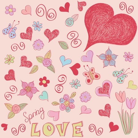 Spring doodles. Love, flowers hearts and butterflies. Vector