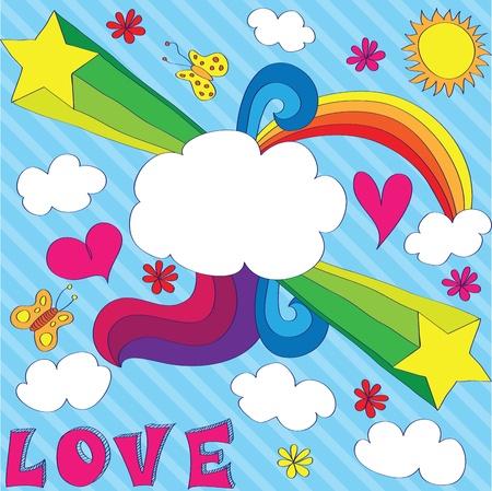 homosexuales: Mano dibujada dise�o gay con nube-banner. EPS 8 CMYK con ilustraci�n vectorial de colores globales.