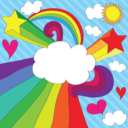 Hand drawn gay design with cloud-banner. EPS 8 CMYK with global colors vector illustration. Vector