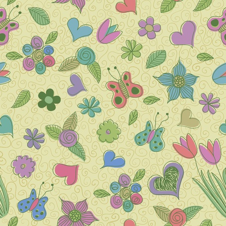 Doodles on spring seamless pattern. Vector