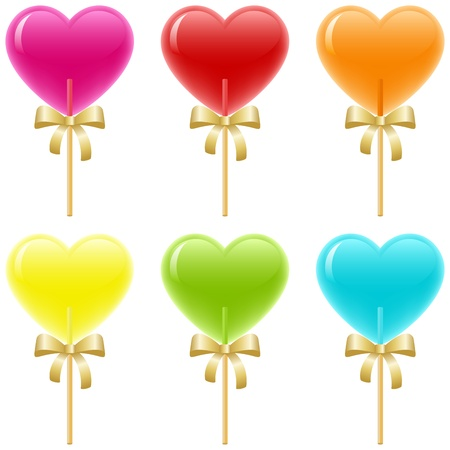 candy hearts: Heart shaped lollipops with ribbons.