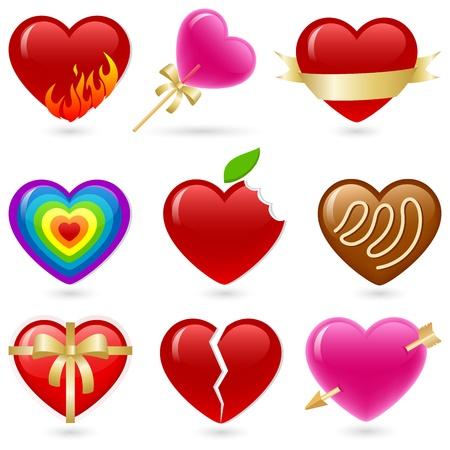 shiny hearts: Valentines heart shaped icon set.