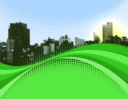 Wavy Green Halftone Cityscape Background. Vector