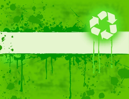 Recycle Banner on green grungy background.
