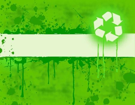 contaminacion ambiental: Reciclar Banner sobre fondo verde grungy. Vectores