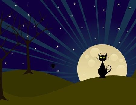 volle maan: Halloween volle maan 's nachts met kat. Stock Illustratie