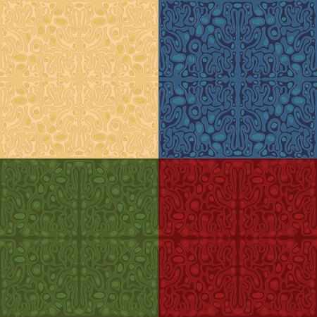 Seamless Wallpaper background. Four different colors. Vector