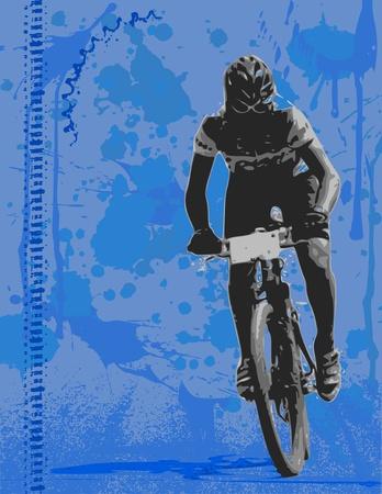 Mountainbiker op grunge achtergrond. Vector Illustratie