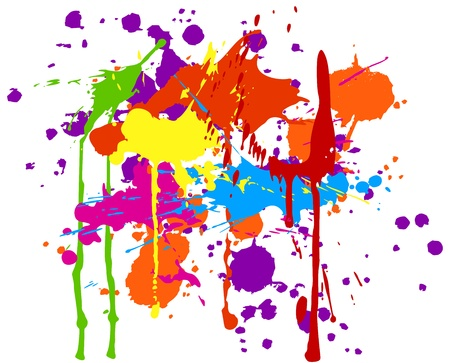 paint drop: Multicolored ink splats on white background.