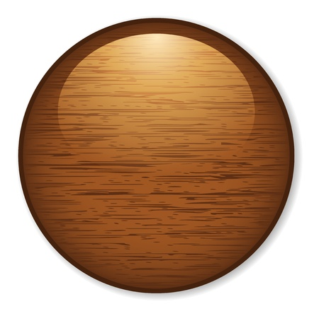 wooden panel: Shiny and glossy wooden button.