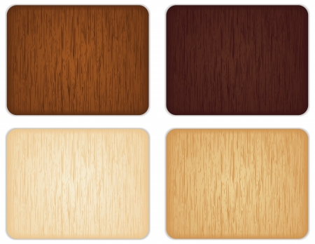 plywood texture: Four different colored wooden signs. Illustration