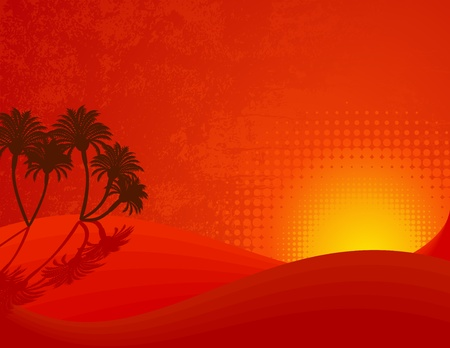 Desertic sunset with palms. Vector