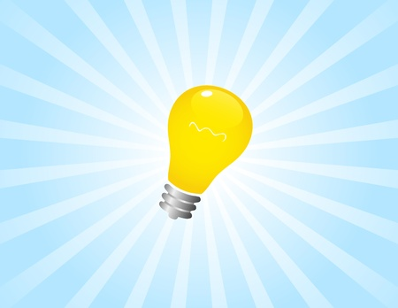 Simple light bulb on sunbeam Stock Vector - 10617686