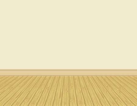 Empty room with hardwood floor. Vector